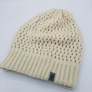 North Face Winter Beanie Cap Beige Double Layer
